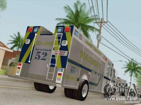 Pierce Fire Rescues. Bone County Hazmat for GTA San Andreas wheels