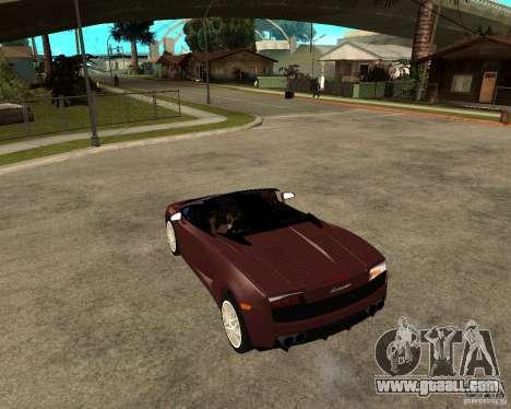 Lamborghini Gallardo LP560-4 Spyder for GTA San Andreas back left view