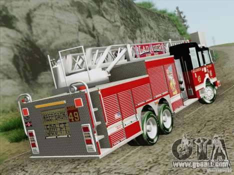 Pierce Rear Mount SFFD Ladder 49 for GTA San Andreas back left view