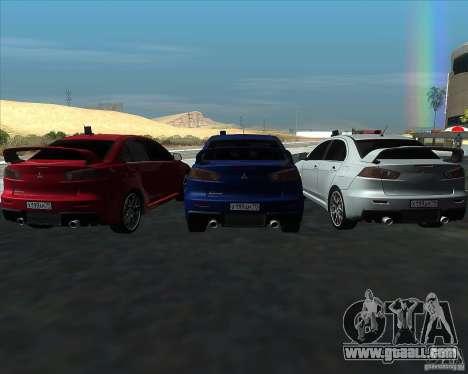 Mitsubishi Lancer Evolution X MR1 v2.0 for GTA San Andreas inner view