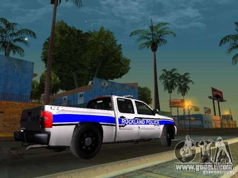 Chevrolet Silverado Rockland Police Department for GTA San Andreas back left view