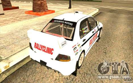 Mitsubishi Lancer Evo IX in the new vinyl for GTA San Andreas back left view