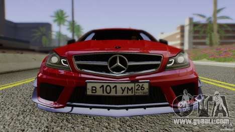 Mercedes Benz C63 AMG Black Series 2012 for GTA San Andreas back view