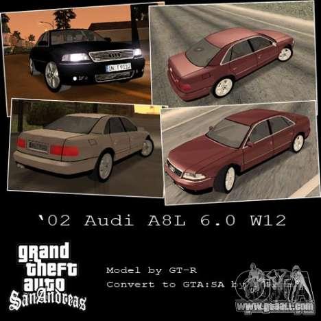 Audi A8 Long 6.0 W12 2002 for GTA San Andreas