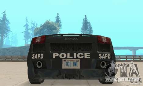Lamborghini Gallardo Police for GTA San Andreas inner view
