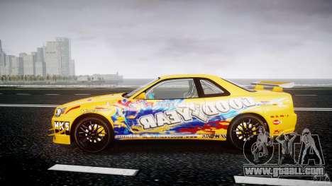 Nissan Skyline R34 GT-R Tezuka Goodyear D1 Drift for GTA 4 left view