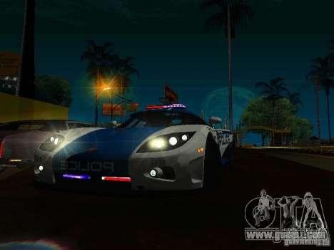 Koenigsegg CCX Police for GTA San Andreas back view