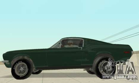Ford Mustang Bullitt 1968 v.2 for GTA San Andreas back left view