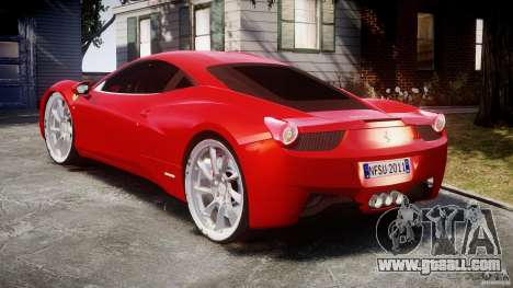 Ferrari 458 Italia Dub Edition for GTA 4 side view