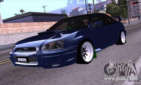 Subaru Impresa WRX light tuning for GTA San Andreas back left view