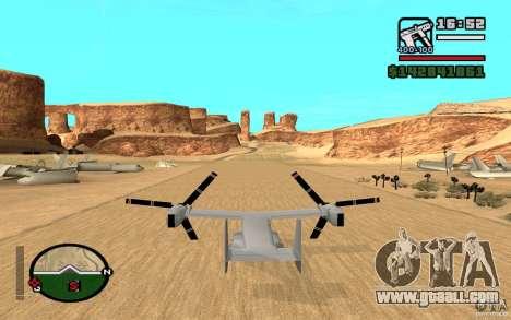 Bell V-22 Osprey for GTA San Andreas back left view