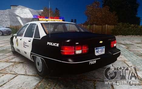 Chevrolet Caprice 1991 Police for GTA 4 back left view