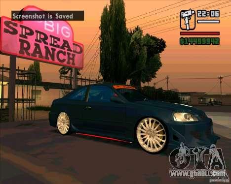 Honda Civic Tuned (corrected) for GTA San Andreas