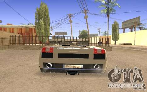 Lamborghini Galardo Spider for GTA San Andreas inner view