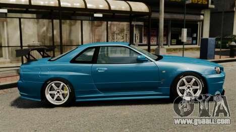 Nissan Skyline R34 2002 v1.1 for GTA 4 left view