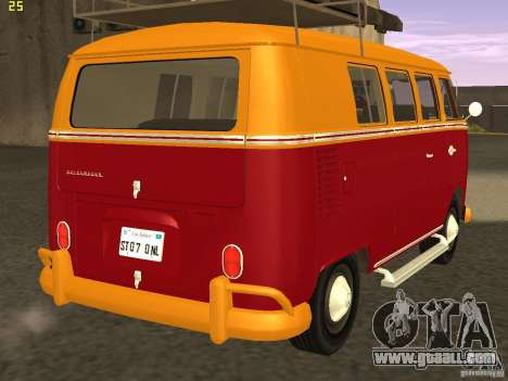 Volkswagen Transporter T1 Camper for GTA San Andreas back left view