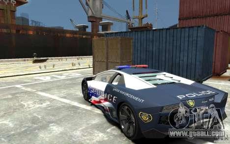 Lamborghini Reventon Police Stinger Version for GTA 4 back left view