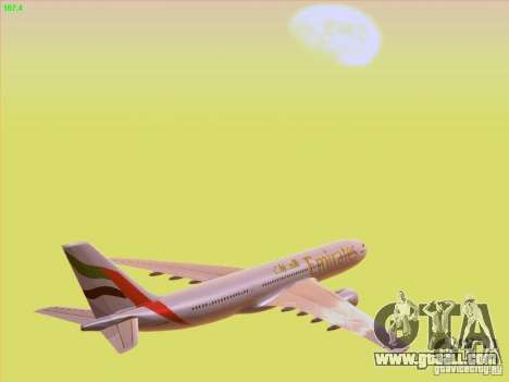Airbus A330-200 Emirates for GTA San Andreas upper view