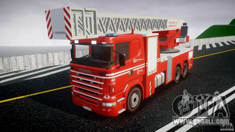 Scania Fire Ladder v1.1 Emerglights blue [ELS] for GTA 4
