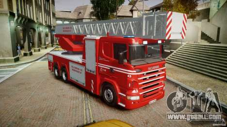 Scania Fire Ladder v1.1 Emerglights blue [ELS] for GTA 4 right view