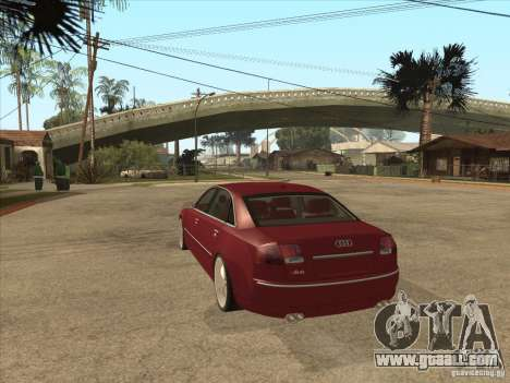 Audi A8 Switze for GTA San Andreas back left view