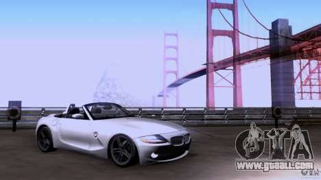 BMW Z4 V10 for GTA San Andreas back left view