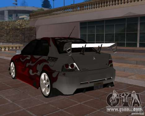 Mitsubishi Lancer Evolution VIII for GTA San Andreas inner view