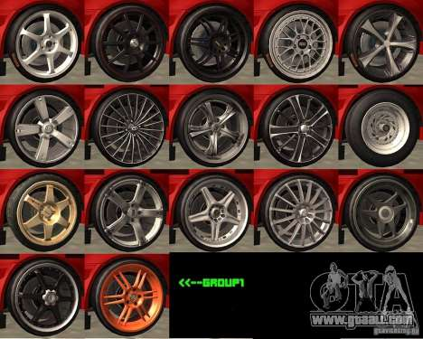 Wheels from the game Juiced 2  Pack 1 for GTA San Andreas