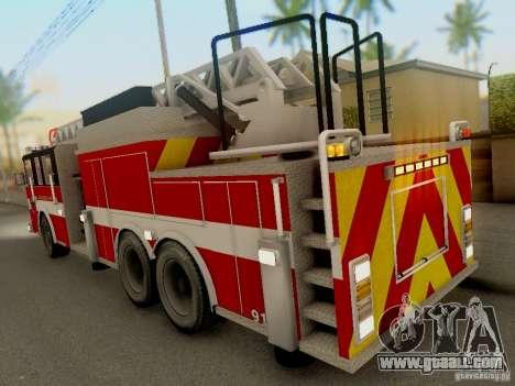 Pierce Firetruck Ladder SA Fire Department for GTA San Andreas right view