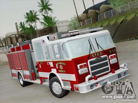 Pierce Pumpers. San Francisco Fire Departament for GTA San Andreas left view