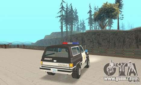 Chevrolet Blazer Sheriff Edition for GTA San Andreas back left view