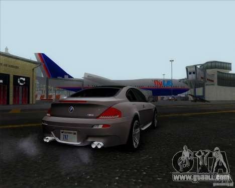 BMW 6 Series M for GTA San Andreas back left view