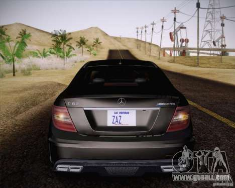 Mercedes-Benz C63 AMG Black Series for GTA San Andreas back view