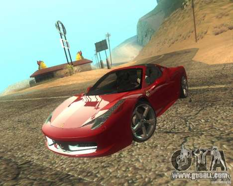 Ferrari 458 Italia Convertible for GTA San Andreas side view