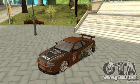 Nissan Skyline R-34 GTR for GTA San Andreas bottom view
