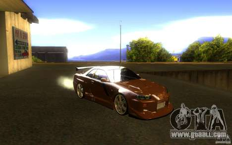 Nissan Skyline GTR R34 for GTA San Andreas back view