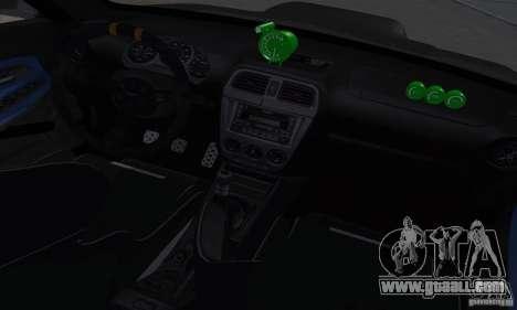 Subaru Impresa WRX light tuning for GTA San Andreas inner view