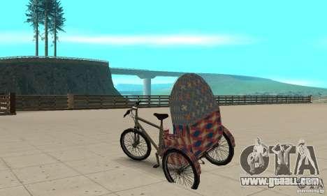Manual Rickshaw v2 Skin5 for GTA San Andreas back left view