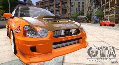 Subaru Impreza WRX STi GDB Team Orange for GTA 4 back view