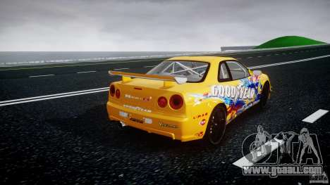 Nissan Skyline R34 GT-R Tezuka Goodyear D1 Drift for GTA 4 side view