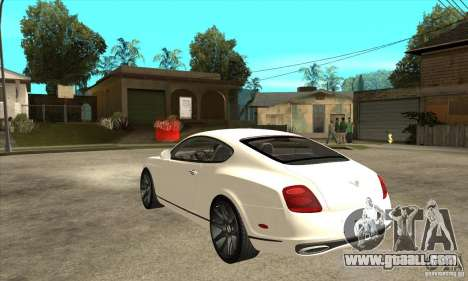Bentley Continental Supersports for GTA San Andreas back left view