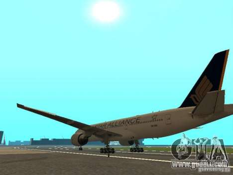 Boeing 777-200 Singapore Airlines for GTA San Andreas back left view