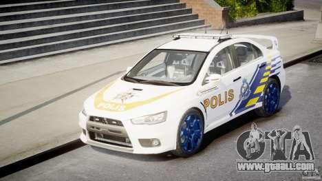 Mitsubishi Evolution X Police Car [ELS] for GTA 4 back view