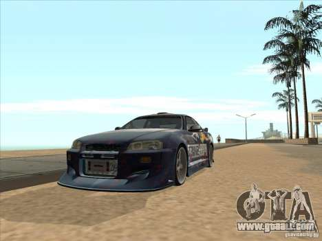 Nissan Skyline R34 VeilSide for GTA San Andreas right view