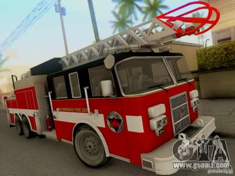 Pierce Firetruck Ladder SA Fire Department for GTA San Andreas left view