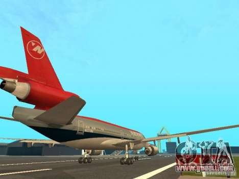 McDonell Douglas DC 10 Nortwest Airlines for GTA San Andreas back view