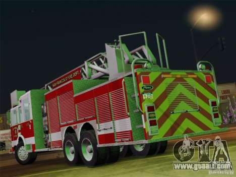 Pierce Aerials Platform. SFFD Ladder 15 for GTA San Andreas right view