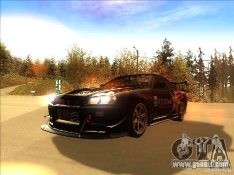 Nissan Skyline GT-R BNR34 Tunable for GTA San Andreas side view