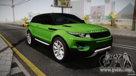 Land Rover Range Rover Evoque v1.0 2012 for GTA San Andreas