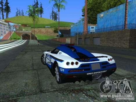 Koenigsegg CCX Police for GTA San Andreas back left view